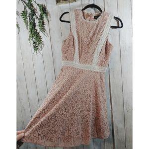 STYLESTALKER cute pink lace midi dress, sleeveless